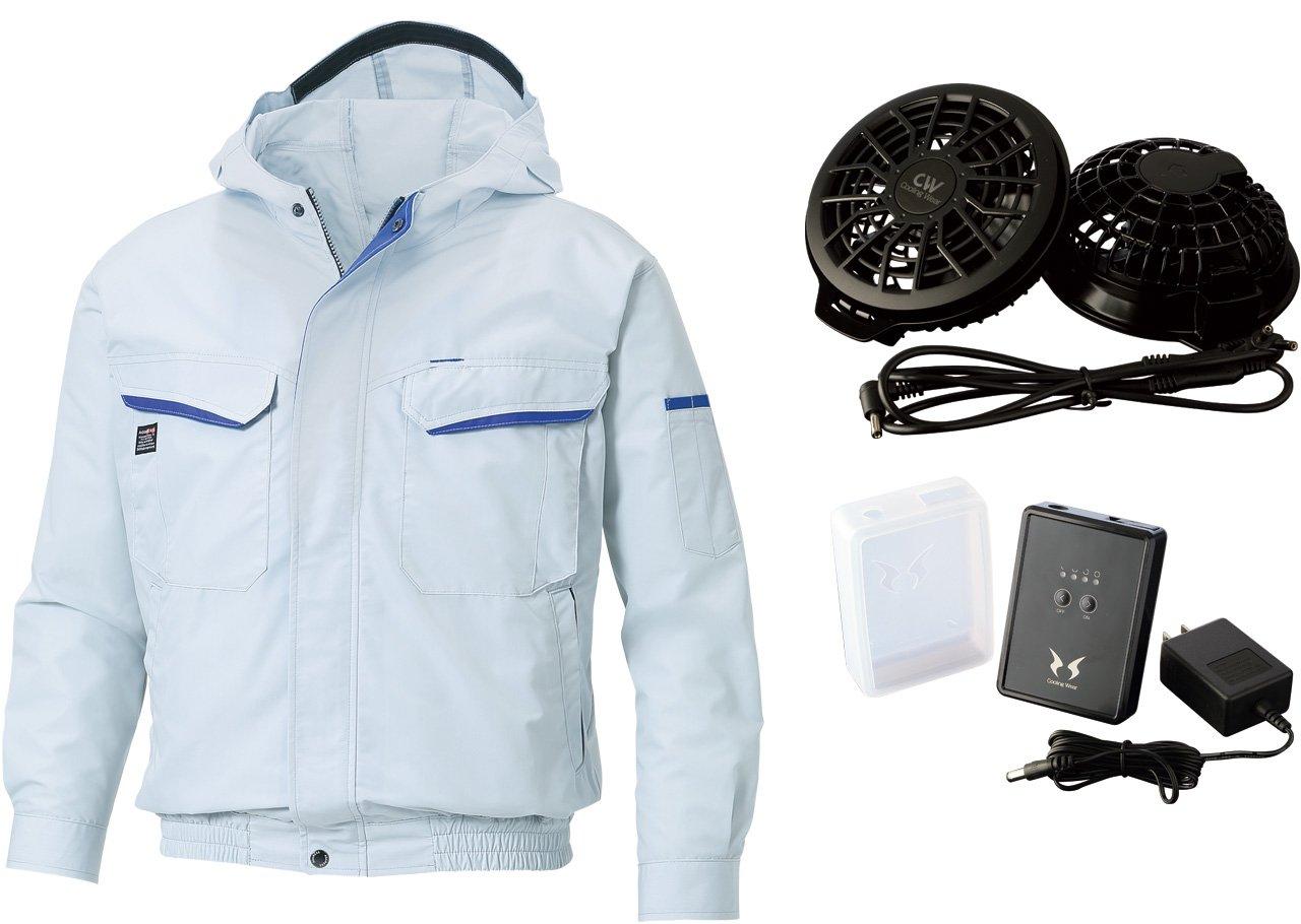 空調服空調風神服 フード付 長袖ブルゾン[フラットファン(RD9820R)+8時間対応 バッテリーセット(RD9870J)](KU90480-b) 【M~5Lサイズ展開】 B00VLYGZS0 5L|シルバー シルバー 5L
