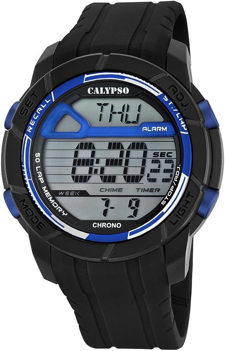 Calypso Hombre Reloj Digital con Pantalla LCD Pantalla Digital Dial y Correa de plástico en Color Negro k5697/8