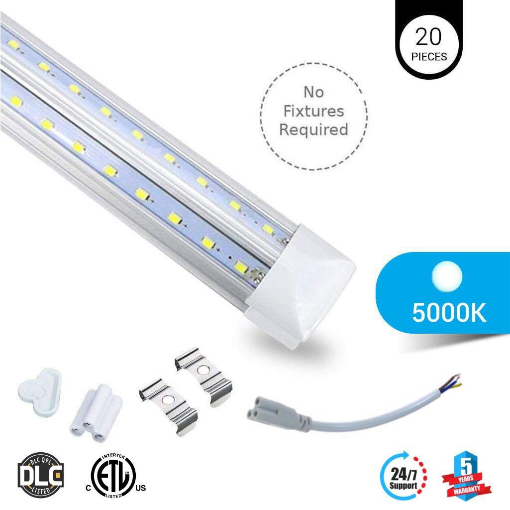 20-PACK T8 8ft V Shape LED tube 60w Integrated 5000k clear 7800 lumens Rebate Eligible