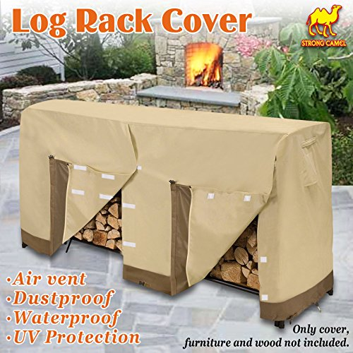 Strong Camel Premium Large Size Log Rack Cover Firewood Rack Waterproof Wood Storage Holder Cover ( Size 8.5' L x 2.1' x 3.5' H) by Strong Camel