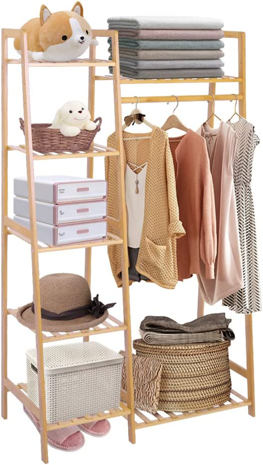 Ufine Bamboo Garment Rack 7-Tier Storage Shelves Clothes Hanging Rack, Heavy Duty Clothing Rack Minimalism Wardrobe Closet Organizer