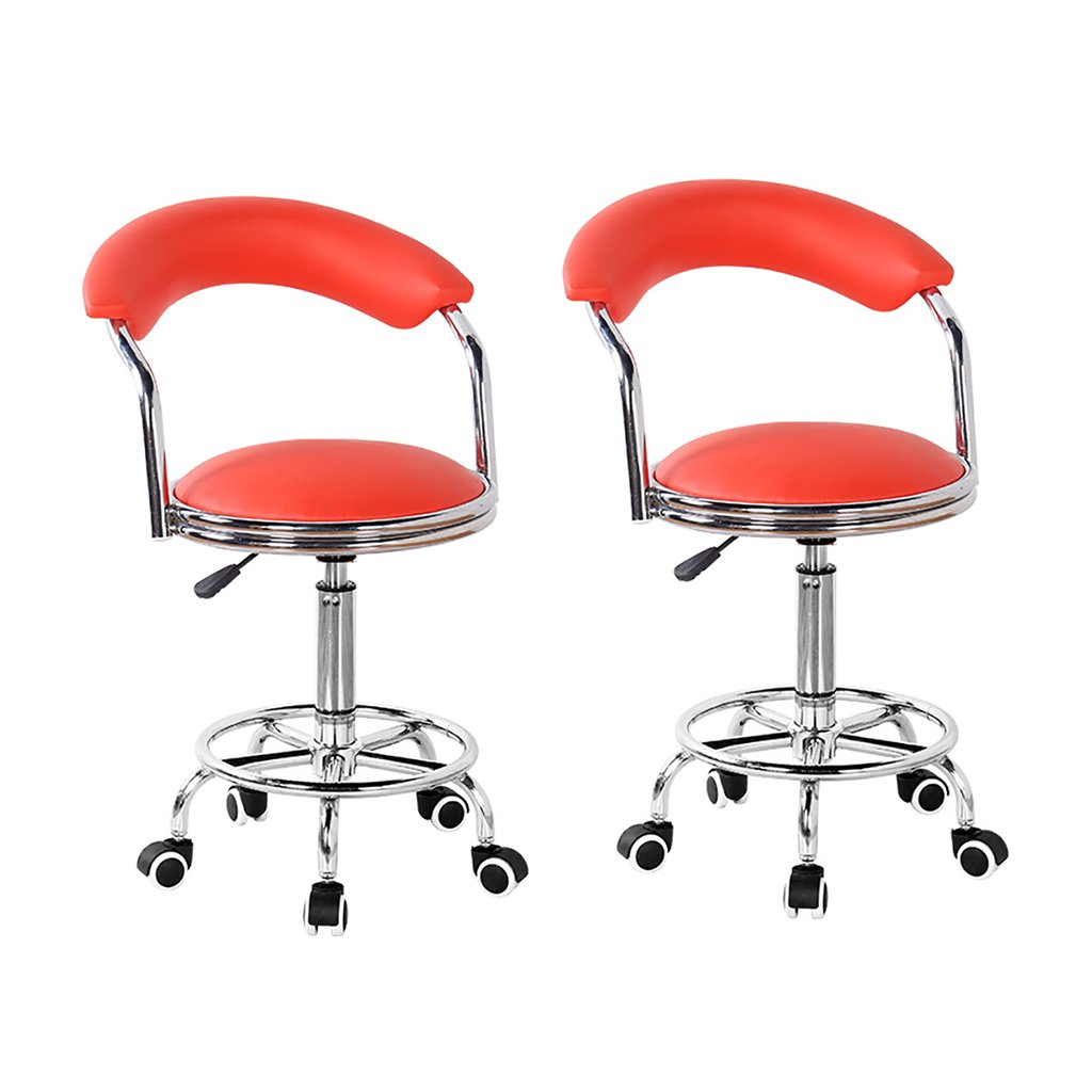 XUEPING バースツール/チェアカウンターチェアロータリーリフトオフィスチェアキッチンレストランバースツール/椅子5色ハイバックレストホイールユニバーサルスツール (色 : E, サイズ さいず : 二) B07D3TGFK6 二|E E 二
