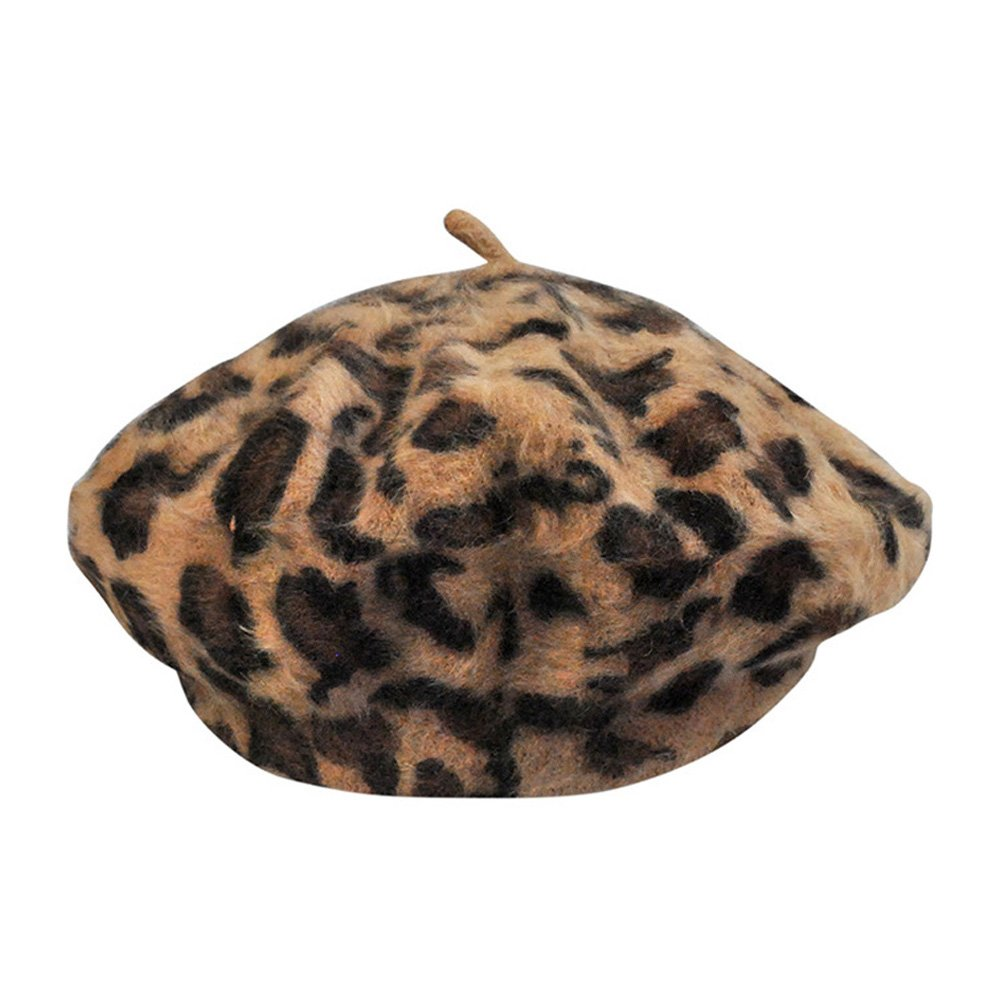 Women French Style Vintage Leopard Print Wool Soft Winter Warm Beret Beanie Hat (Khaki)