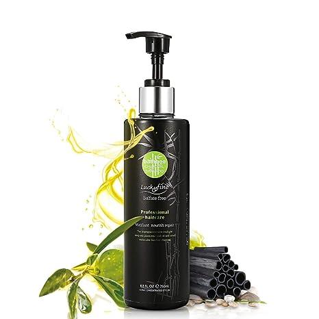 Luckyfine Champú de Carbón para Limpieza Profunda Champú Sin Sulfatos Anti-Caída Control de Aceite