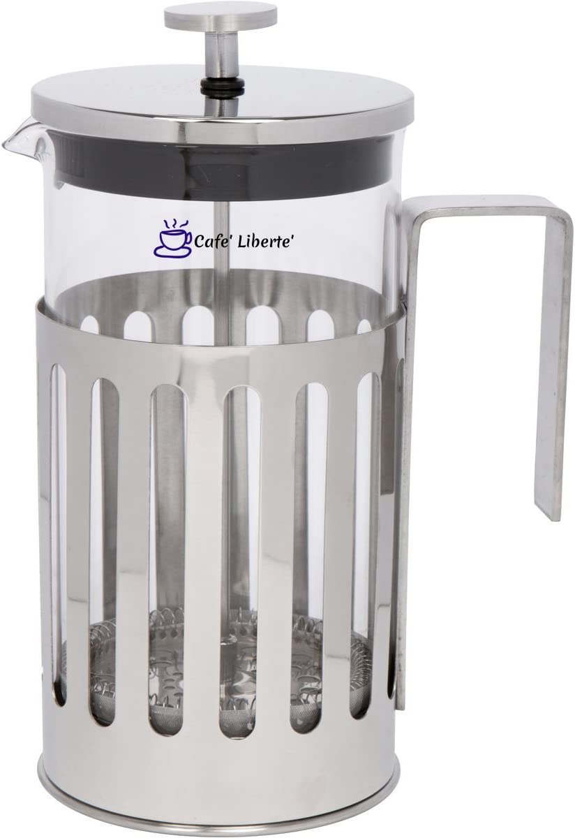 Cafe Liberte French Coffee Tea Press – 8 Cup 1 Liter 34 oz – Polished Stainless Steel