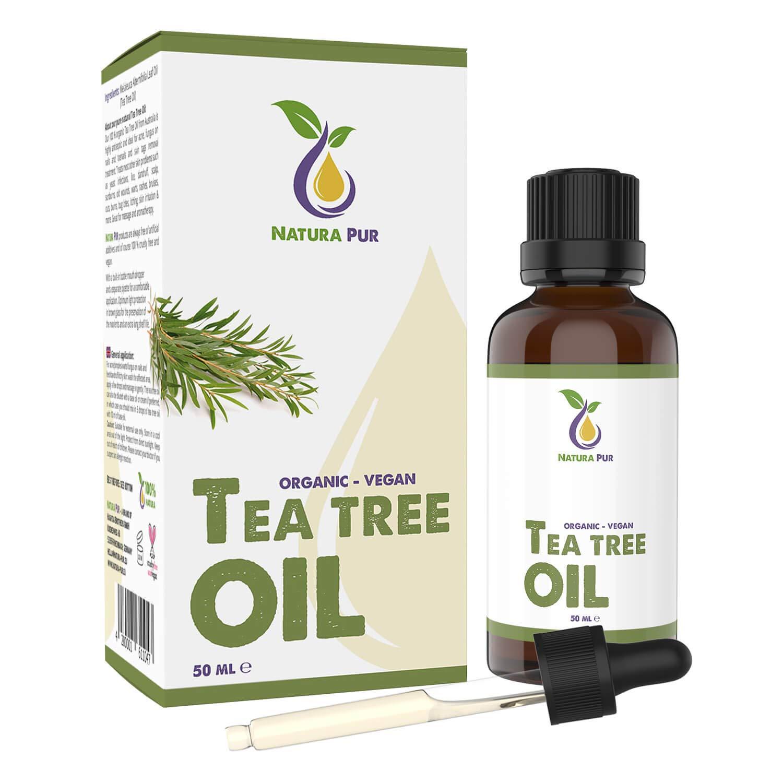 Natura Pur Huile bio d'arbre à thé de 50 ml - huile essentielle 100% naturelle d'Australie, végétalienne - Soutien pour les imperfections cutanées, les inflammations de la peau, les boutons