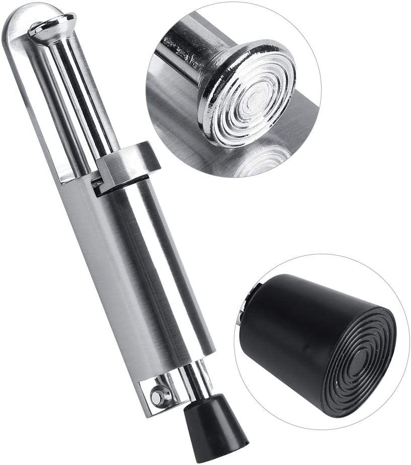 Heavy Duty Door Stop Silver Alloy Soft Rubber Foot Spring Loaded Easily Step-On Door Stopper Holder