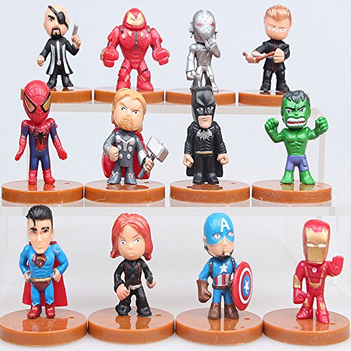 The Avengers Batman Iron Man Hulk Thor Superman 12 PCS Action Figure Statue Toys from The Avengers Batman Iron Man Hulk Thor Superman 12 PCS