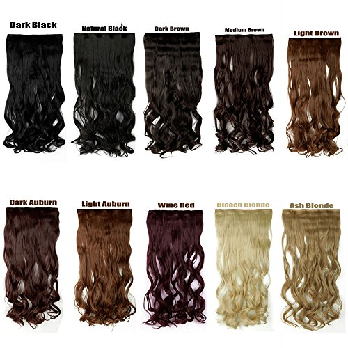 syalex (TM) 43 cm 60 cm 70 cm Half Full Head Dick Clip in Echthaar Extensions Haarverlängerung topaaa + Haarteil 10 Farbe Frauen Haarteil Zubehör wine red 45cm