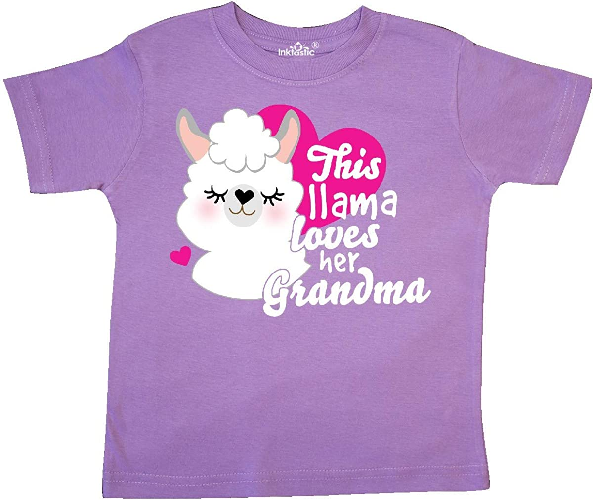 inktastic Valentines Day This Llama Loves Her Grandma Toddler T-Shirt