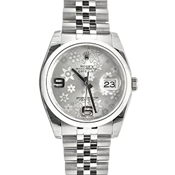 ba6c9db69bb Image Unavailable. Image not available for. Color  Rolex Datejust 36 Silver  Floral Motif 2 Arab Dial Steel Mens Watch 116200