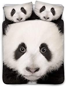 Kids Girls Duvet Cover King Size Panda Printed Comforter Cover Cute Animal Decor Bedding Set Panda Pattern Comforter Set Bedroom Decor Duvet Cover Simple Style Quilt Cover for Adult Teens Boys