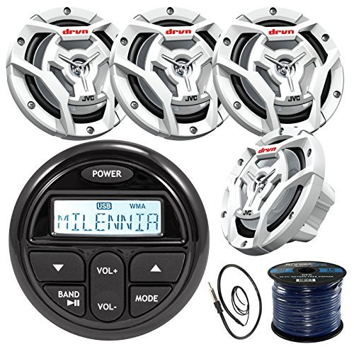 Jvc Portable Audio System For Ipod - Millenia PRV17 Gauge Style Marine Boat Yacht Radio Stereo Receiver Bundle Combo With 4x JVC CS-DR6201MW 300-Watt 6.5