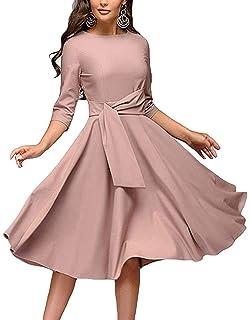 14b24776326 Women s Elegance Audrey Hepburn Style Ruched Dresses Round Neck 3 4 Sleeve  Pleated Swing Midi