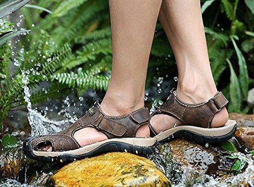 pour à brun air hommes cuir foncé plein en Sandales Huateng sport de trekking fermé pour hommes en Chaussures de bout ZUx6IRqw