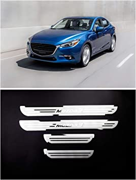 For Mazda 3 Forth Generation 2019-2020 Accessories Steel Door Cover Door Sill Scuff Plate Door Sill Protector Cover Trim 4pcs