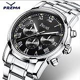 Smalody Prema メンズ時計 日常運動ビジネス兼用腕時計 ミリタリースポーツデザインデジタルクォーツ ファッション ルミナスフル ステンレススチールバンド ウォッチ 男性 大人 シンプル カジュアル 腕時計 3色 (ブラック)