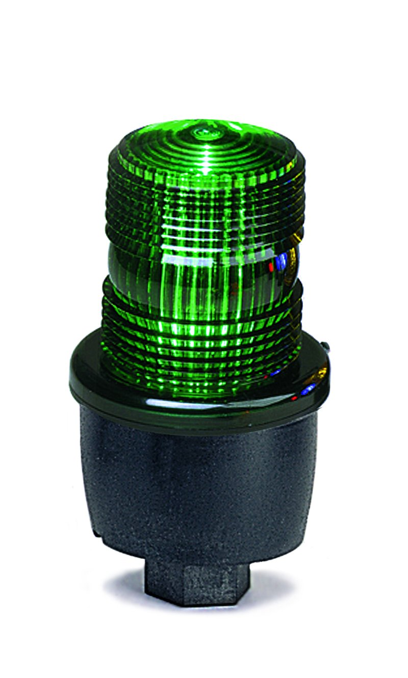 Federal Signal LP3PL-120G Streamline Low Profile Steady Burning LED Light, Pipe Mount, 120 VAC, Green