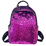 Chartsea Fashion Girl Sequins School Bag Backpack Satchel Student Travel Shoulder Bag (Purple)