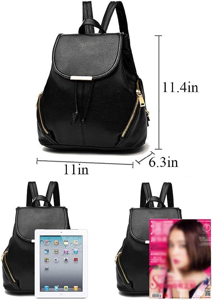 Ladies Girls Backpack Leather Shoulder School Bag Zip Around With Strap Black