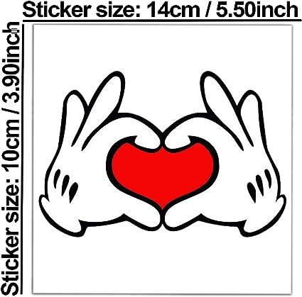 Biomar Labs 1 X Vinyl Aufkleber Sticker Mouse Maus Hands Heart Herz Hände Bumper Autoaufkleber Auto Motorrad Fenster Tür Laptop Fahrrad Tuning B 250 Auto