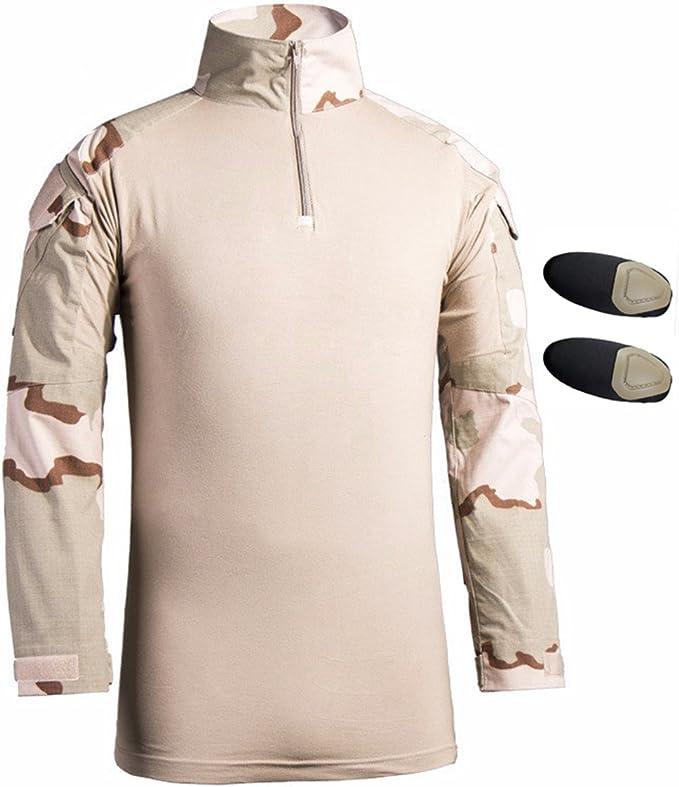 Hombres Airsoft Militar Táctico Camisa Largo Manga Delgado Ajuste Camuflaje Combate Camo Camisetas con Almohadillas de Codo Beige x-Small: Amazon.es: Ropa y accesorios