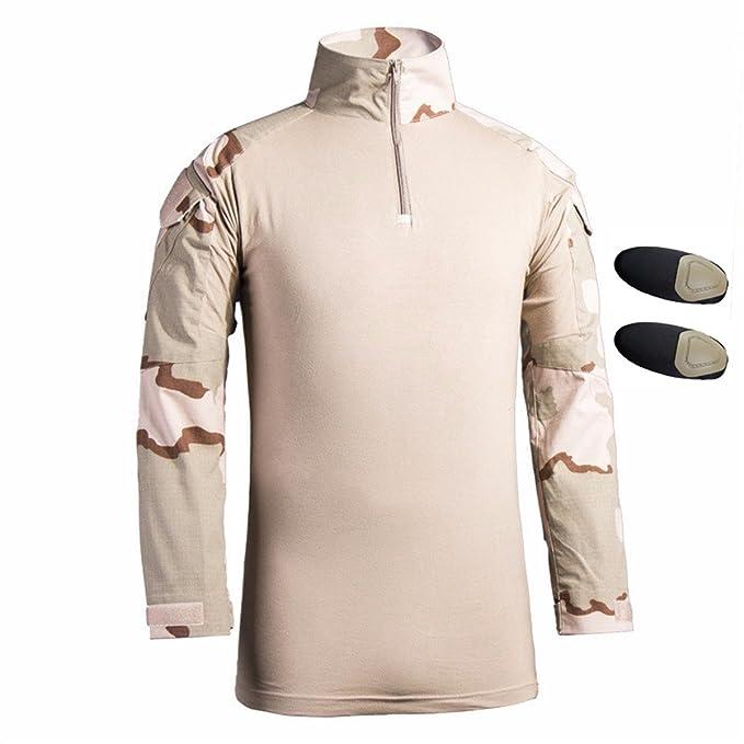 Hombres Airsoft Militar Táctico Camisa Largo Manga Delgado Ajuste Camuflaje Combate Camo Camisetas con Almohadillas de Codo Beige Small: Amazon.es: Ropa y ...