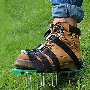 RTWAY Lawn Aerator Shoes, Aerating Lawn Shoes With 4 Straps and Heavy Duty Metal Buckle Spiked Sandals Shoes Garden Tool for Lawn or Yard (Green)