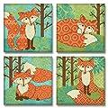 Adorable, Colorful, Cute Fantasy Fox Set - Four 12 x 12 Paper Poster Prints
