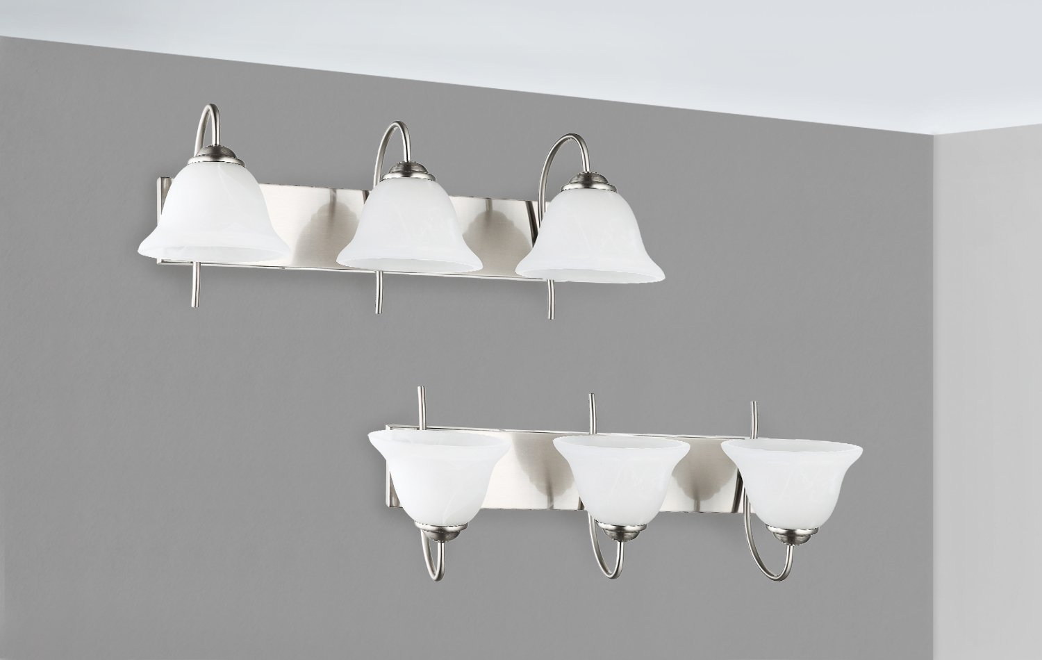 3-Light Bathroom VANITY and Kitchen Wall Sconce Fixture, Satin Nickel Finish with Alabaster Glass Bell Shades, E26 Medium Base For Three Bulbs, UL Listed by OSTWIN (Image #5)
