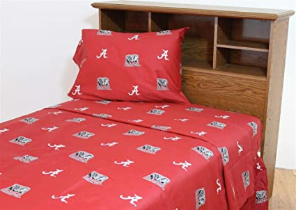 Alabama Crimson Tide Queen Size Sheet Set Flat Fitted Sheet Solid White Bed