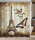French Country Shower Curtains Jibin Bong Morning-Sunshine 72 x 72 Inch Paris Eiffel Tower Shower Curtain, Heavy-Duty Waterproof Polyester Fabric Shower Curtains, Butterfly and Flower Pale Brown Bathroom Curtain