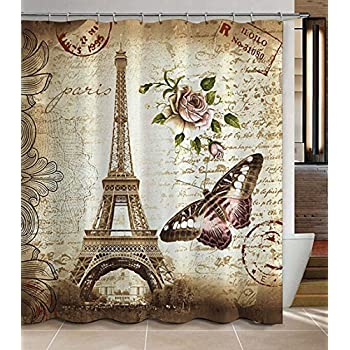 72 x 72 inch paris eiffel tower shower curtain heavyduty