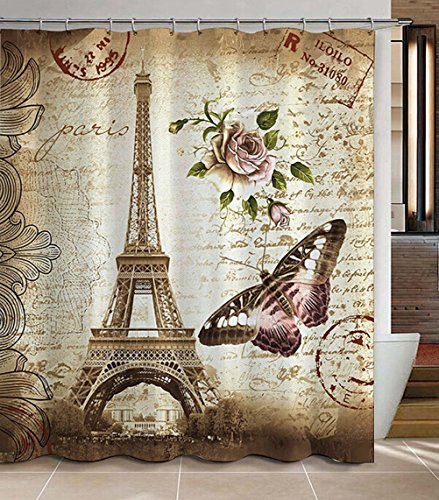 Jibin Bong Morning-sunshine 72 x 72 Inch Paris Eiffel Tower Shower Curtain, Heavy-duty Waterproof Polyester Fabric Shower Curtains, Butterfly and Flower Pale Brown Bathroom Curtain