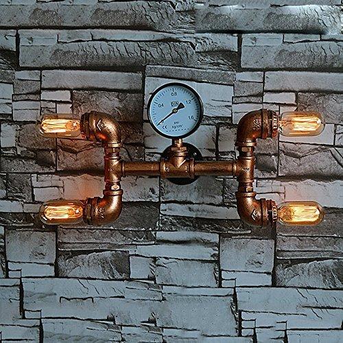 CGJDZMD Wall Sconce Vintage Industrial Wall Lamp Retro Edison E27 2-Lights Steampunk Rustic Waterpipe Wall Light Lamp Barn Garage Villa Lighting Fixtures (Not Including Light Bulbs)