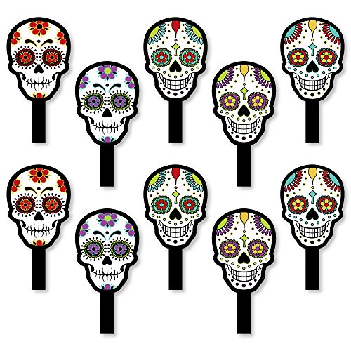 Day Of The Dead - Halloween Party Paddle Props - Selfie Stick Photo Props - Set of 10
