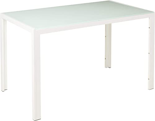 Modern Kitchen Dining Table with White Glass Table Top Dining Room Furniture Table – White 130 x 70 x 75cm, White