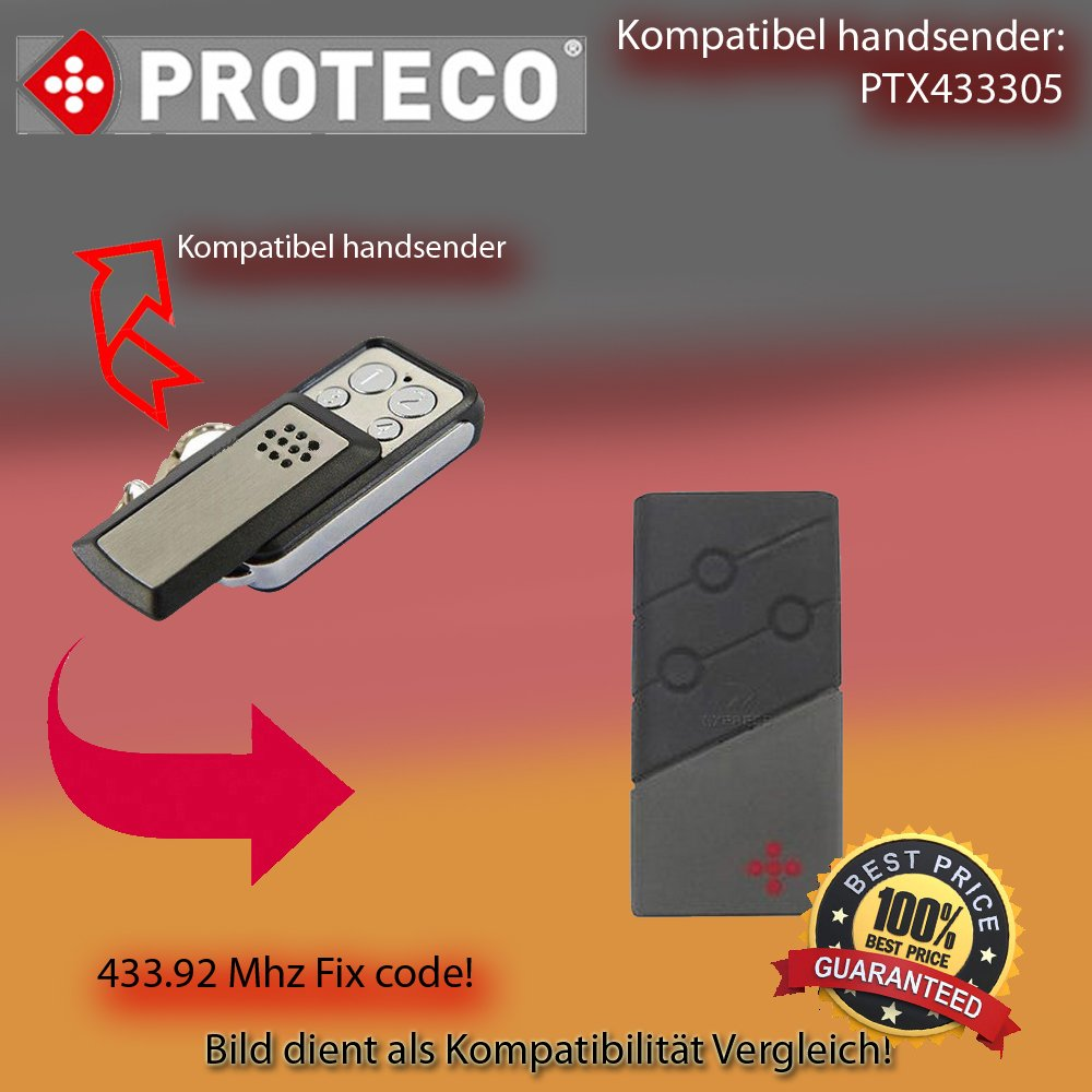 Handsender 433,92 MHz f/ür PROTECO TX3 PROTECO HIT Antriebe