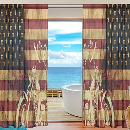 Vintage American Flag With Skull Window Sheer Curtain Panels, 2 PCS 55x84 inch, Gauze Curtain for Living Room Bedroom Home (Framed Turquoise Earrings)