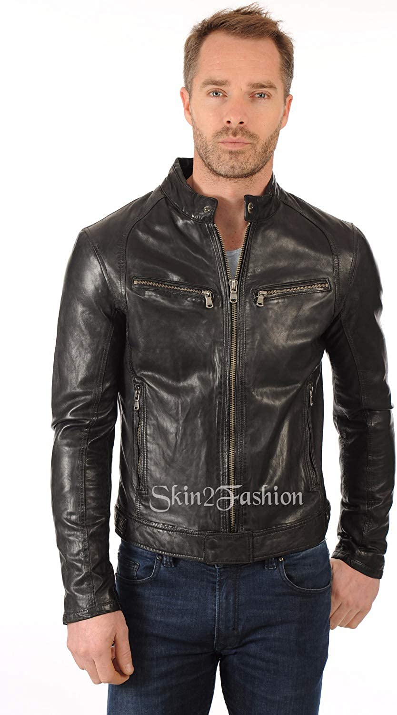 Skin2Fashion Mens Leather Jackets Motorcycle Bomber Biker Real Leather Jacket 07