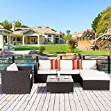 Cloud Mountain 6 Piece PE Outdoor Patio Garden Lawn Furniture Set Wicker Rattan Sectional Sofa Couch Set Cushions Roma Stripe Pillows, Dark Chocolate