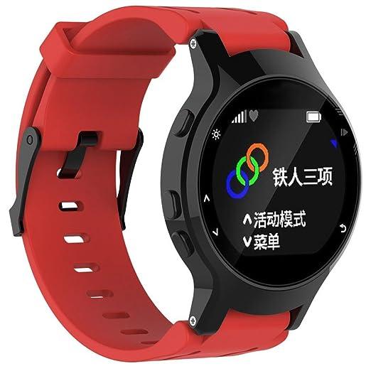 Rawdah Suave silicona reemplazo banda de reloj + Funda para Garmin Forerunner 225 GPS Watch (rojo): Amazon.es: Relojes