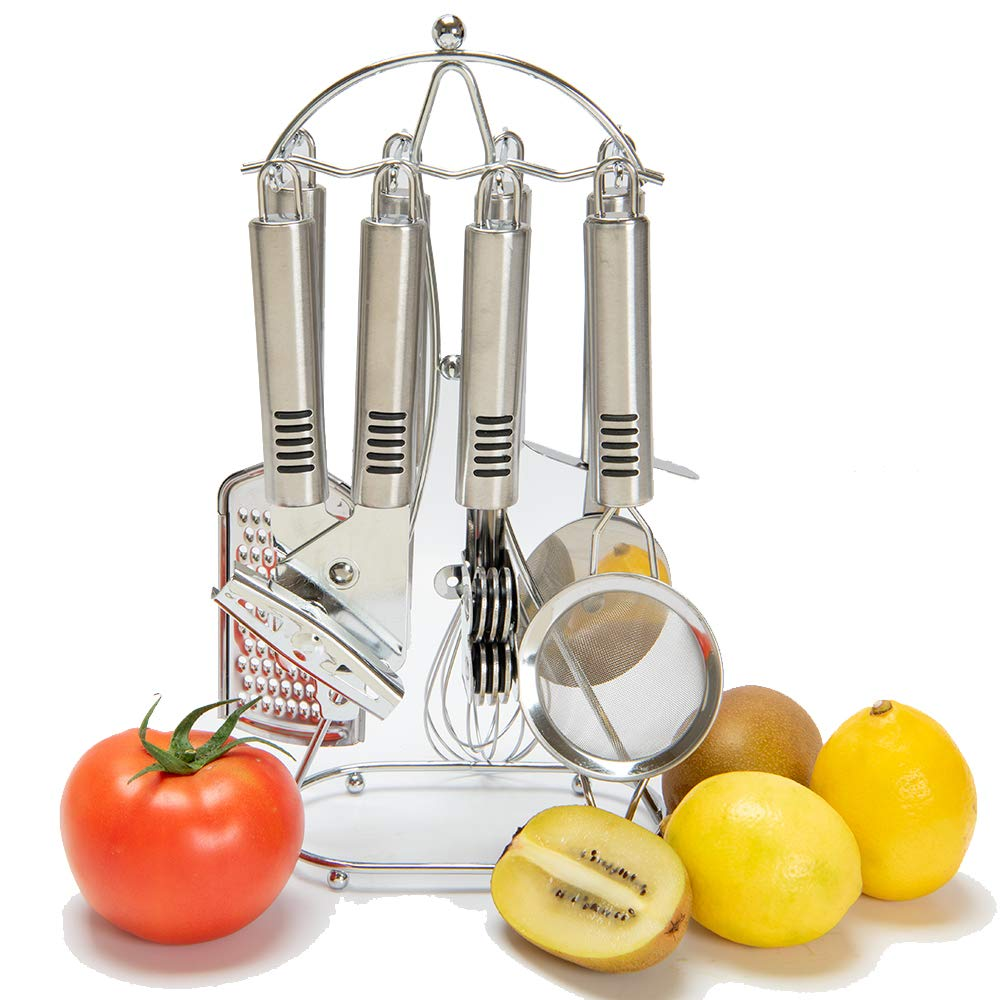 Kitchen Gadgets Tool Cookware Set With Anti Slip Handle - 8 Stainless Steel Cooking Utensils With Holder Stand-Handy Friendly Design The Best Housewarming Gift by Sveetlife