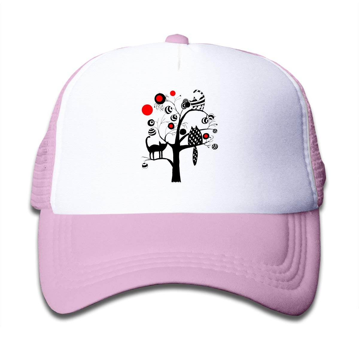 Tree with Cats and Fruits Kids Fishing Hats Caps Black