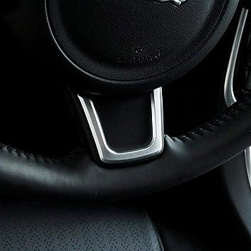 Autobro ABS Plastic Car Steering Wheel Trim Strips Accessories Matte Silver for Jaguar XE XF F-Pace E-PACE 2016-2018