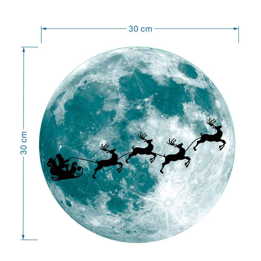 99native DIY Weihnachten Luminous Moon Wandaufkleber Weihnachtsgl/ühen Fenster Aufkleber Leuchtende Abnehmbare Glaswandaufkleber Kinderzimmer Schlafzimmer Weihnachtsdekoration Wohnkultur Blau