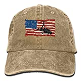 ZUIAI Csapfll Scuba Diving Diver USA American Flag Classic Unisex Baseball Cap Adjustable Washed Dyed Cotton Ball Hat Natural