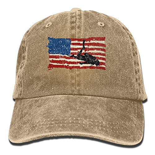 Hat Diver (ZUIAI Csapfll Scuba Diving Diver USA American Flag Classic Unisex Baseball Cap Adjustable Washed Dyed Cotton Ball Hat Natural)