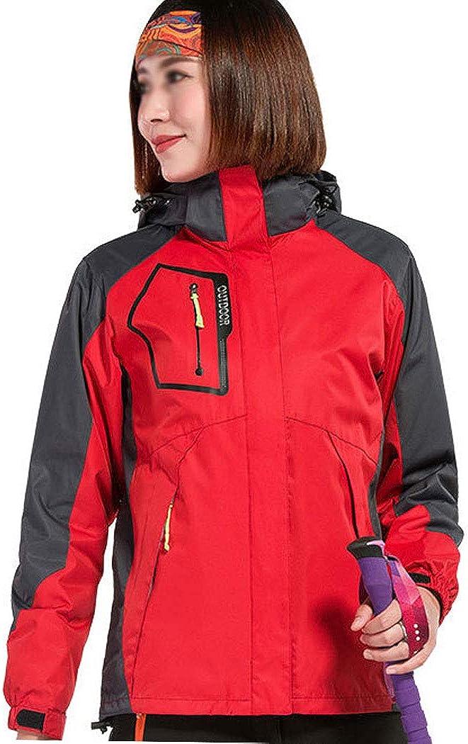 女性のジャケット厚く取り外し可能なツーピース旅行ジャケット防水防風屋外登山スポーツウェア レッド S