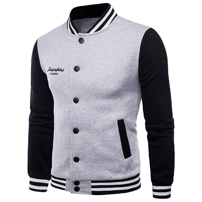Hombres Jacket Invierno Chaqueta,JiaMeng Ganador de Moda Manga Larga Empalme Sudadera Top Camiseta Blusa Chaqueta Abrigo de Manga Larga para Hombre ...